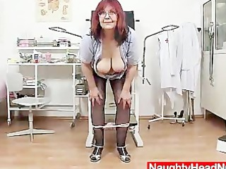 Redhead huge boobies cougar spreads her haired