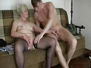 Chubby Blonde Granny Seduces A Y...