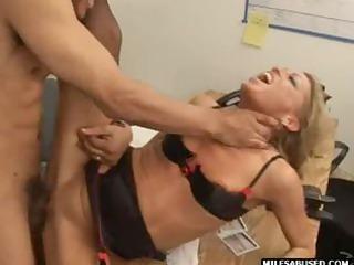 Blonde MILF wearing high heels does anal