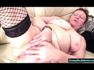 Dirty granny fingering her hairy old cunt