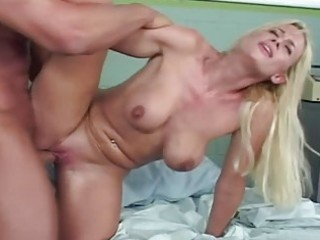 Busty blonde milf getting fucked until wet orgasm