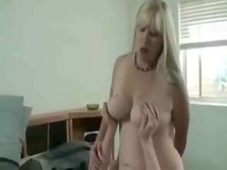 Breasty golden-haired mommy bonks stepson