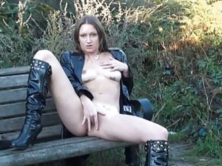 Sexy english milf Randy masturbating outdoors