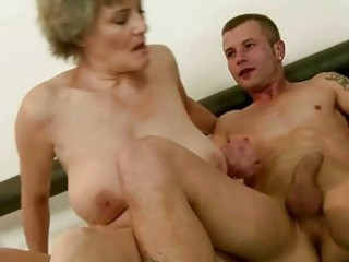 Granny enjoys good fucking with young man