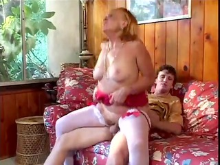 Slutty grandmother sucks, copulates her grandson