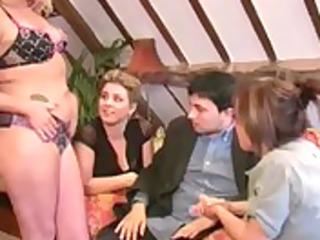 Three amateur milfs seduce a business man