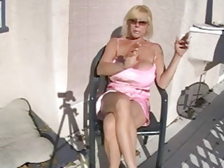 Hot Busty Granny Smoking and Relaxing