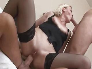Kinky mature blond in wild groupsex!