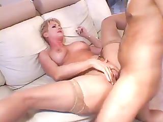 Blonde MILF In Thigh Highs Loves Getting Slammed