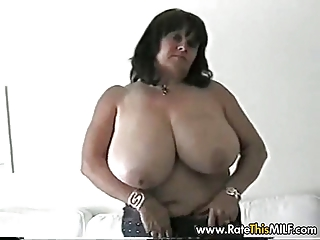 Super busty amateur MILF in stockings