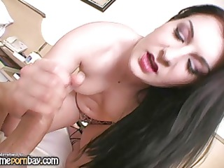 Cute amateur brunette wife jerking dick 4