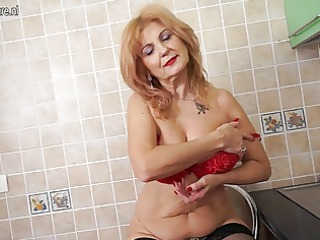 Super hot grandma shows hot body and masturbates