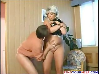 Chubby blonde Russian mature gets and gives head