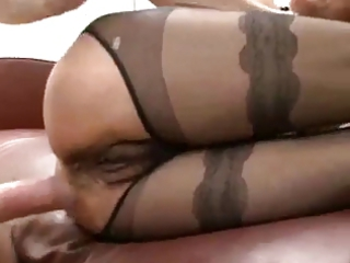 Hairy mature in sexy pantyhose fucked