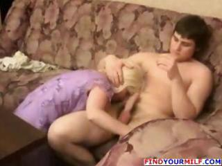 Busty blonde Russian MILF helps with homework and