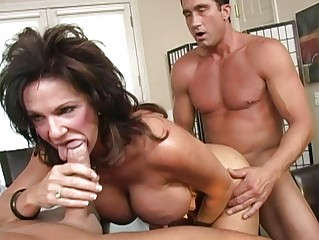 Horny busty brunette milf fucking hard with two