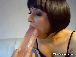 Wife with her dildo on webcam
