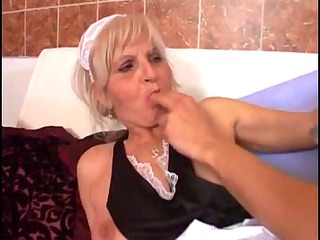 Youthful boyfrend copulates an old granny