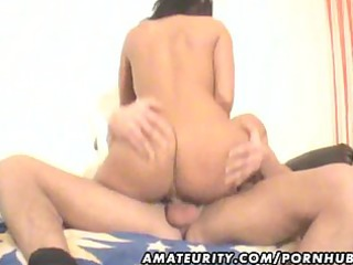 Busty amateur Milf blowjob and fuck with cum on