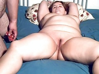 Chubby amateur milf toyed and blowjob with facial