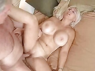 Blonde milf with huge hooters gets her shaved