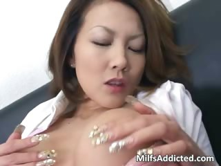 Slutty Asian MILF touches her wet pussy part1