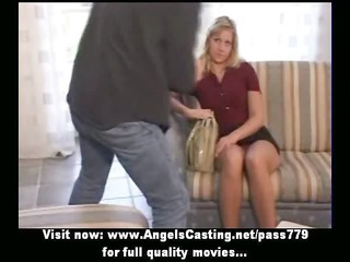 Amateur lovely blonde bride nice talking and