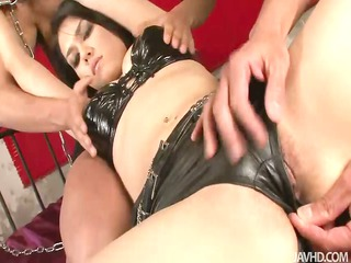 Leather clad Maria is slowly stripped naked and