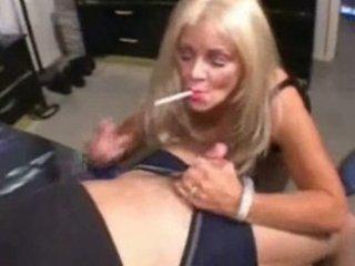 Blonde mature cougar smoking sex
