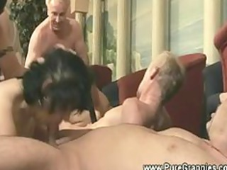 Grandmothers takes cock orgy