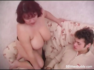 Mature BBW fucks younger guy