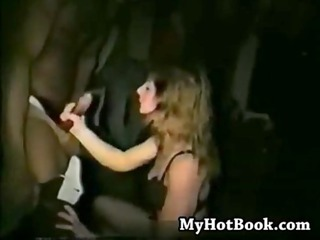 Swinger wife in theater begging for ebony dick