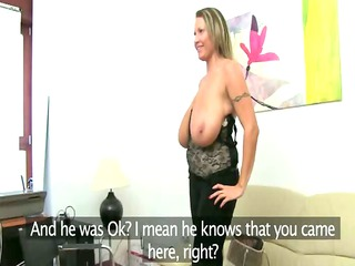 Mature woman fucking on leather bed