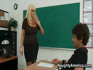 This busty blond MILF of a teacher needs some