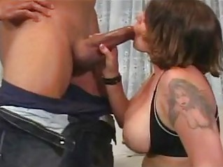 Heavy chested milf bunette with tattoo does