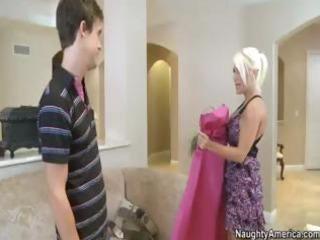 Hot blonde MILF bride with big knockers gets