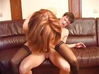 beautiful brunette milf in stockings fucks