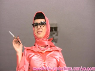 Dirty talking busty MILF smoking femdom