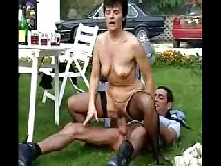 Outdoor granny orgy