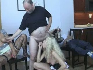 Blonde girl have fun fucking with mature woman
