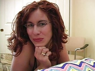 Cock loving redhead milf with glasses gets facial