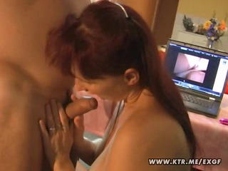 Busty amateur wife toying sucking and fucking on
