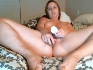Chubby Wife with glass sex toy on cam