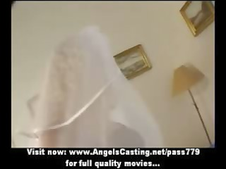 Hot blonde milf as bride does blowjob and