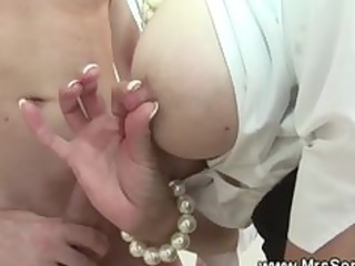 Cuckolds wife plays with cock