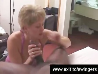 Swinger mom Tracey devours BBC while hubby films