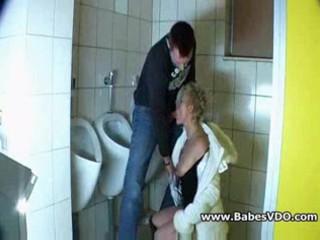 Mature whore fucked in public bathroom
