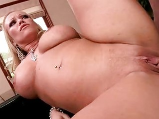 Busty blonde milf gets her beaver slammed by