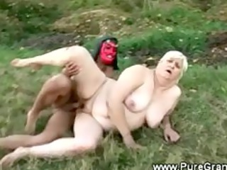 Fat granny banged by the devil