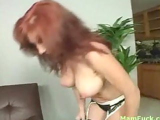 Gorgeous redhead mom shows booty daughter how to